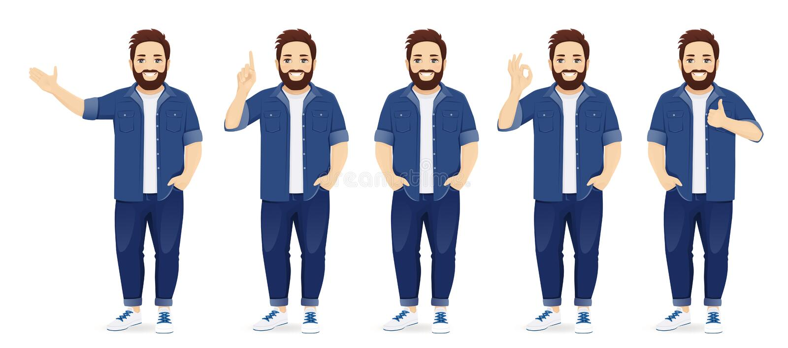 Big man in casual clothes set. Handsome big man in casual clothes standing in different poses set isolated vector illustration vector illustration
