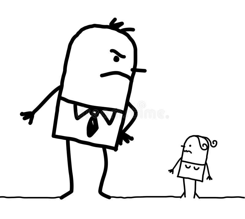 Big man & small woman. Hand drawn cartoon characters - big man & small woman vector illustration