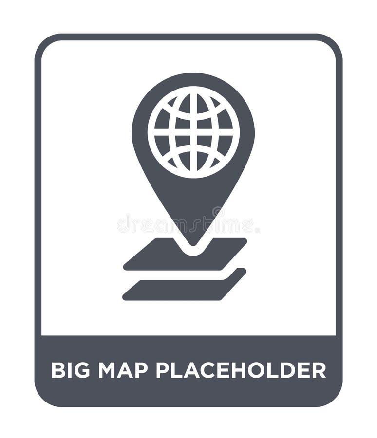 Big map placeholder icon in trendy design style. big map placeholder icon isolated on white background. big map placeholder vector. Icon simple and modern flat vector illustration