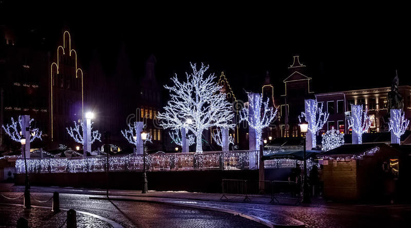 Big Market Square during christmas. Photograph of the Big Market Square during christmas, Brugge, Belgium royalty free stock image