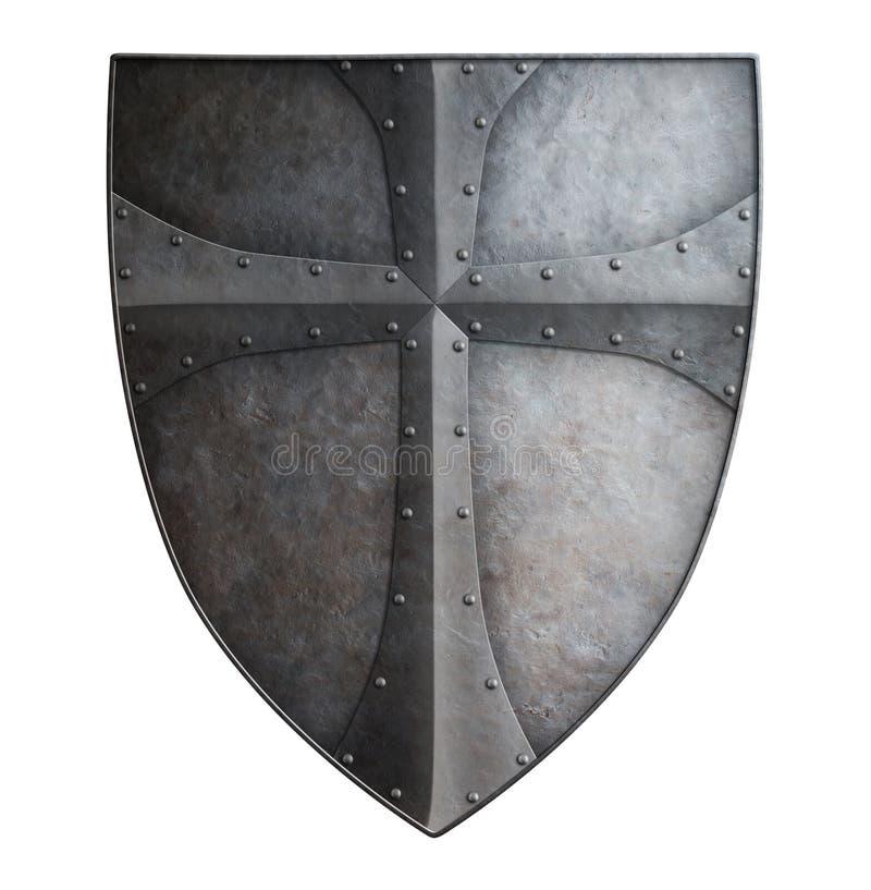 Big medieval crusader's metal shield isolated 3d illustration. Big medieval crusader's metal shield isolated on white 3d illustration stock image
