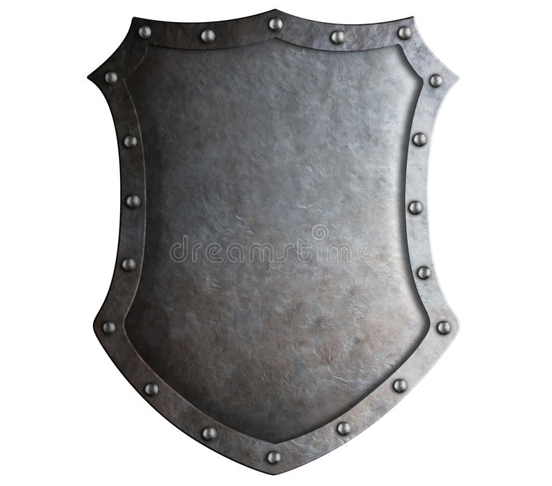 Big medieval metal shield isolated. On white royalty free stock images