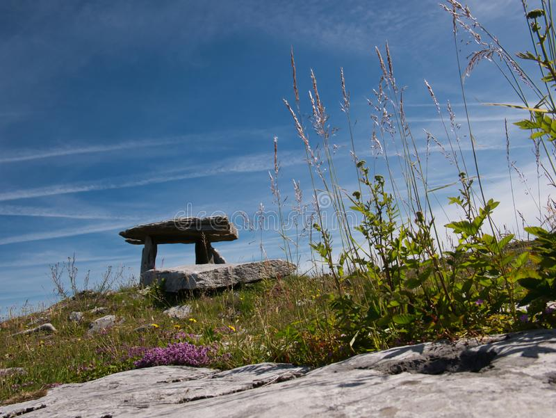 Big Megalith building from large stone blocks. A Megalith building made of large stone blocks in Ireland near Poulnabrone stock image