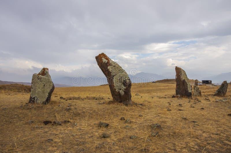 Big megalithic menhirs of Zorats Karer Carahunge - prehistory stock photos