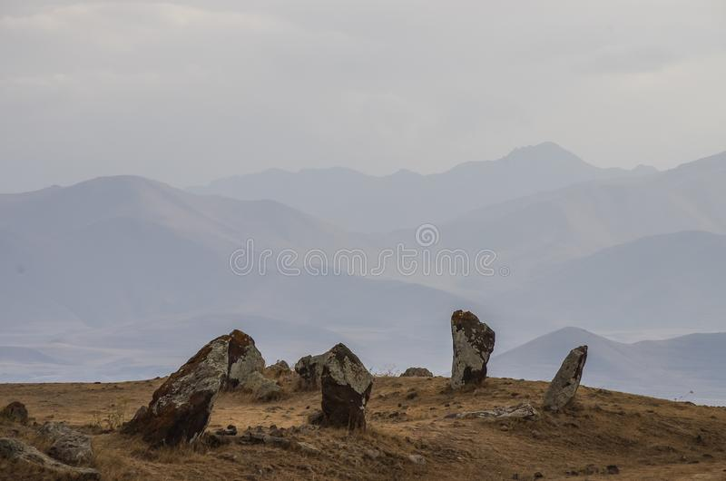 Big megalithic menhirs of Zorats Karer Carahunge - prehistory royalty free stock image
