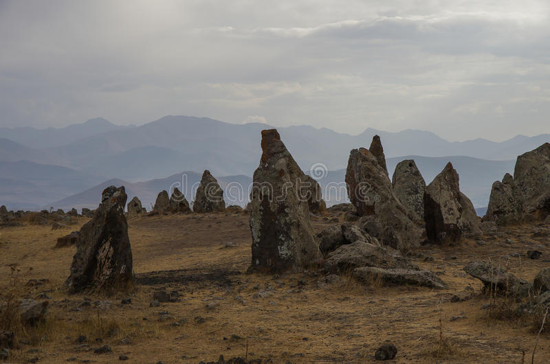 Big megalithic menhirs of Zorats Karer (Carahunge) - prehistory stock photo