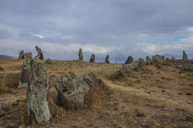 Big megalithic menhirs of Zorats Karer (Carahunge) - prehistory royalty free stock images