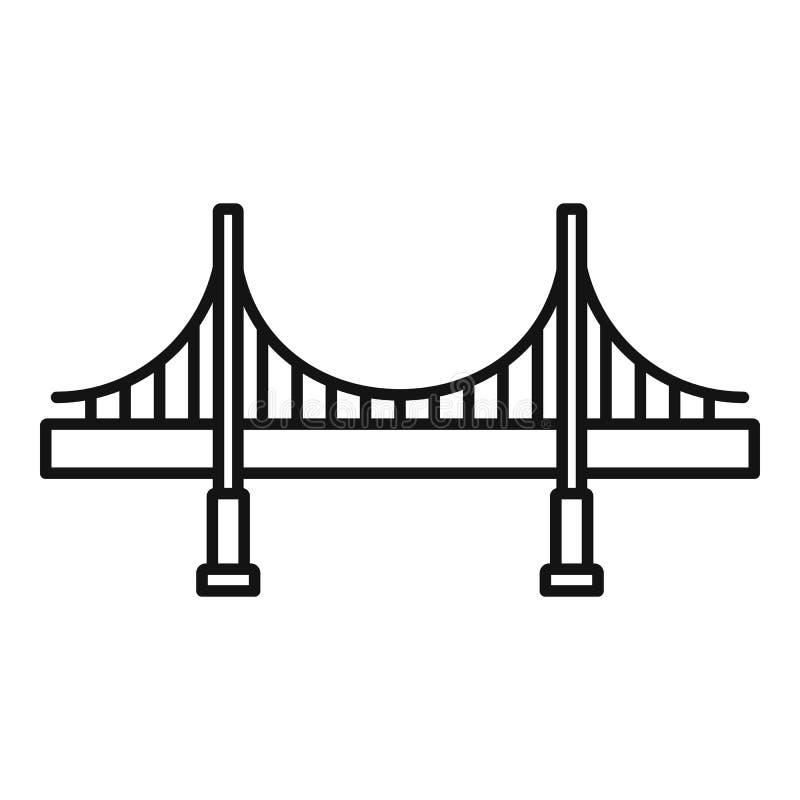 Big metal bridge icon, outline style vector illustration