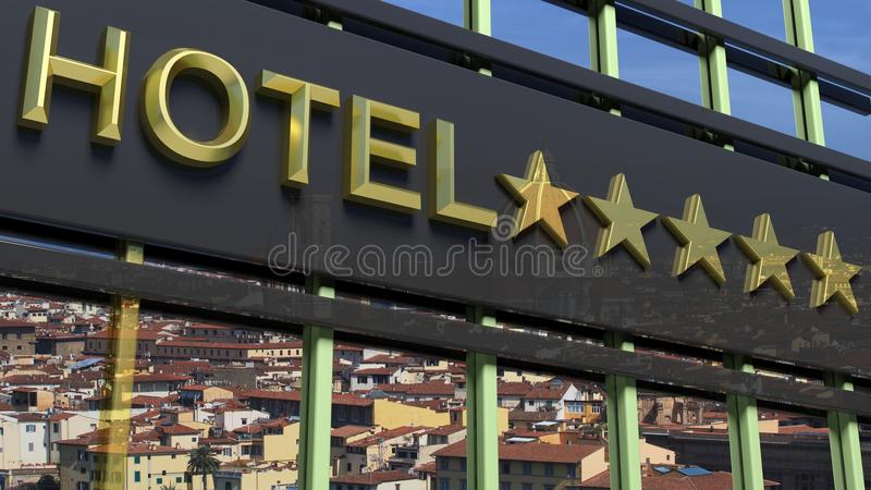 Big metallic glass hotel sign board with five golden stars. And city view as background stock illustration