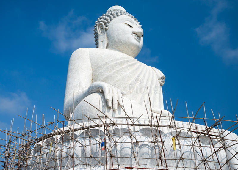 Big 45-meter Buddha monument of the Phuket island in Thai stock photos