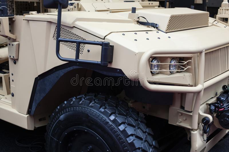 Big military wehicle for desert stock image