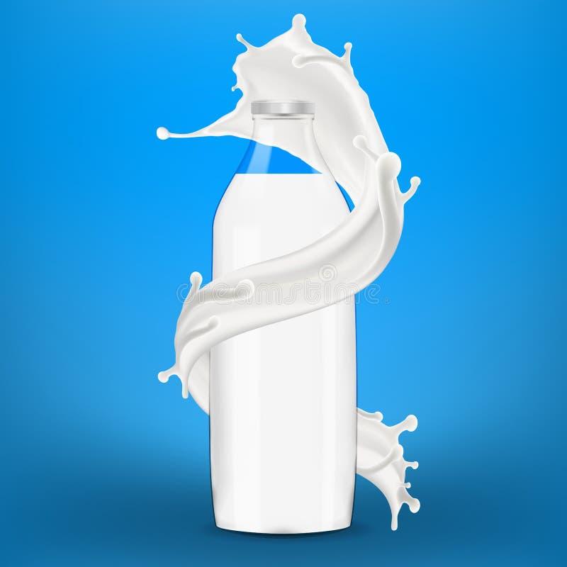 Big milk splash around full bottle of milk. Three dimentional vector realistic illustration vector illustration