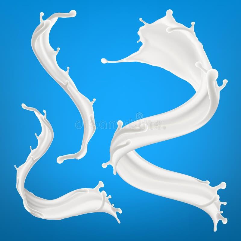 Big milk splash isolated on blue background. Three dimentional vector realistic illustration royalty free illustration