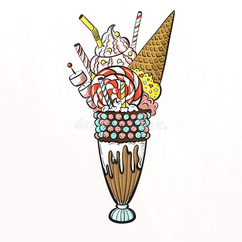 Big milkshake with ice cream, candies, marshmallow, cream and lollipop . Sweet beautiful dessert giant milkshake stock illustration