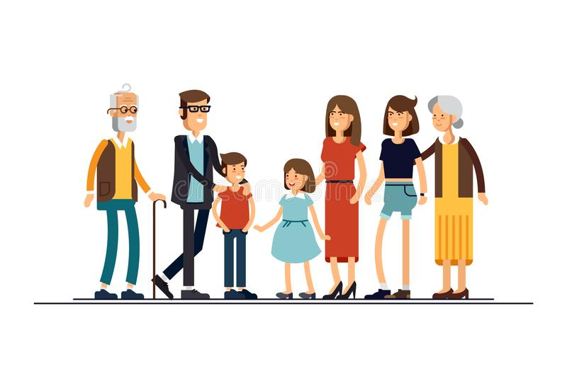 Big modern family vector flat design illustration. Relatives standing together. Grandparents, mother, father, siblings. Happy family characters vector illustration