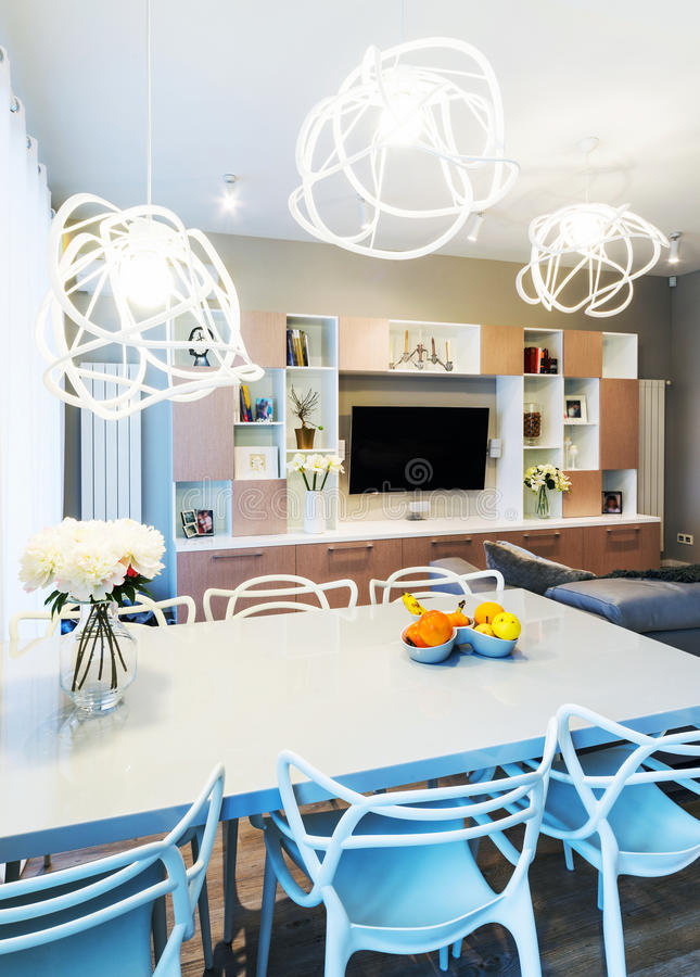 A big Modern living room royalty free stock photos