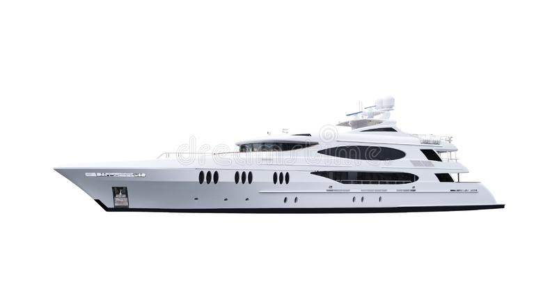 Big modern luxury ocean sea private motor yacht on a white isolated background royalty free stock image