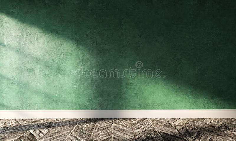 Big modern room with green plaster wall and sunlight. 3d rendering illustration of big modern room with green plaster wall, wooden floor and white plinth royalty free stock photo