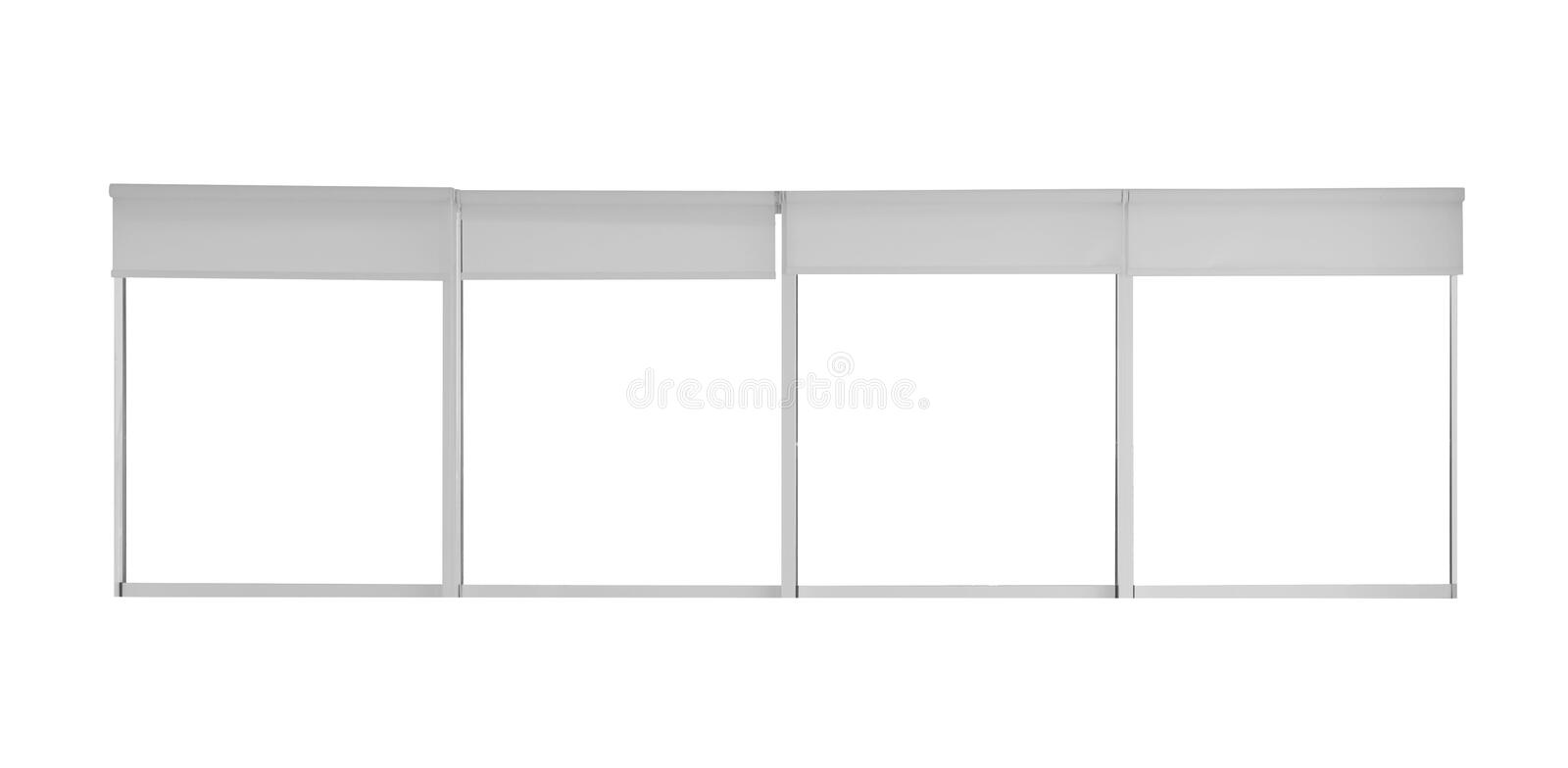 Big modern window with open roller blinds stock photo