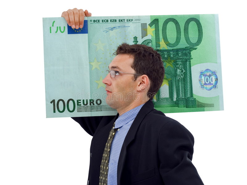 Big money. Businessman carrying a big hundred euro royalty free stock photos