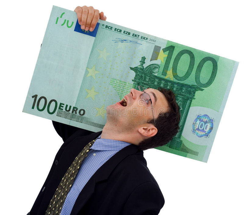 Big money. Happy businessman carrying a big hundred euro royalty free stock images