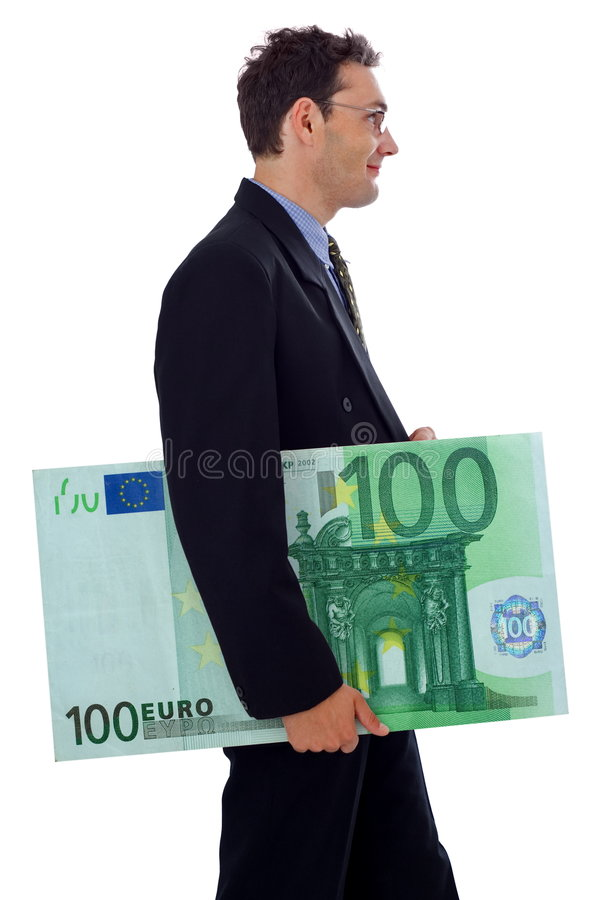 Big money. Happy businessman walking with a big hundred euro stock photos