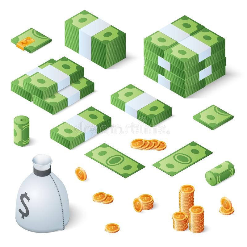 Free Big Money Set. Dollar Bills And Gold Coins. Isometric Vector Illustration Royalty Free Stock Images - 108030699