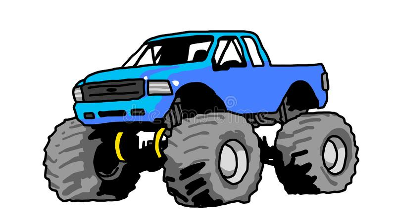 Big monster truck blue drawing. Blue Monster Truck with Aggressive Set Up freehand drawing big wheels big foot vector illustration