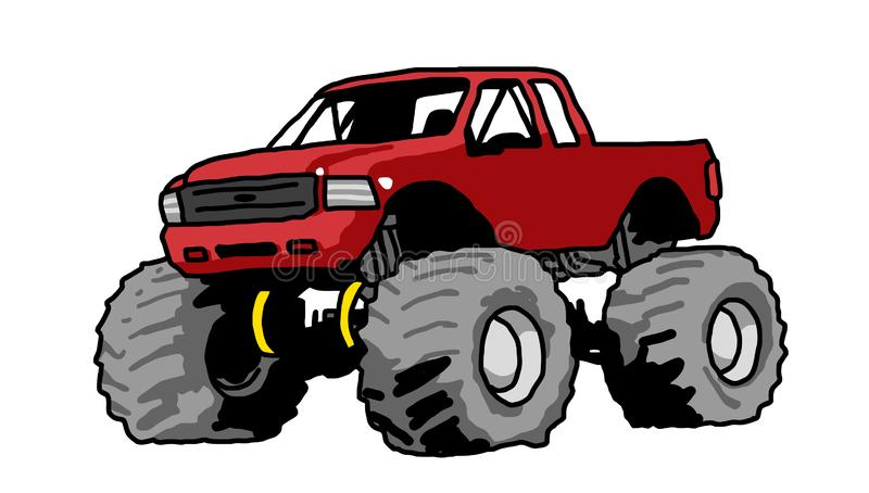 Big monster truck red drawing. Red Monster Truck with Aggressive Set Up freehand drawing big wheels big foot vector illustration