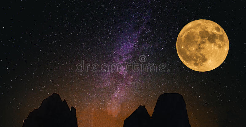 THE BIG MOON royalty free stock photography