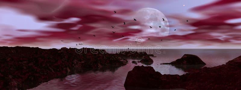 Download Big moon rising stock illustration. Image of contrasting - 4590572