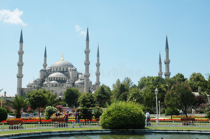 Big Mosque In Istanbul In Summ Royalty Free Stock Image