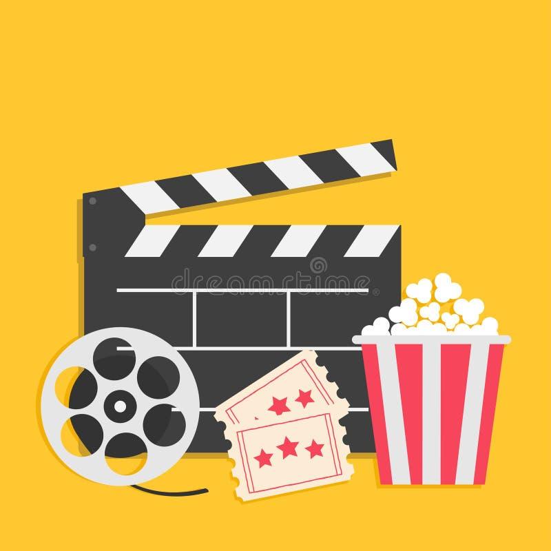 Big movie reel Open clapper board Popcorn box package Ticket Admit one. Three star. Cinema icon set. Yellow background. Flat desig royalty free illustration