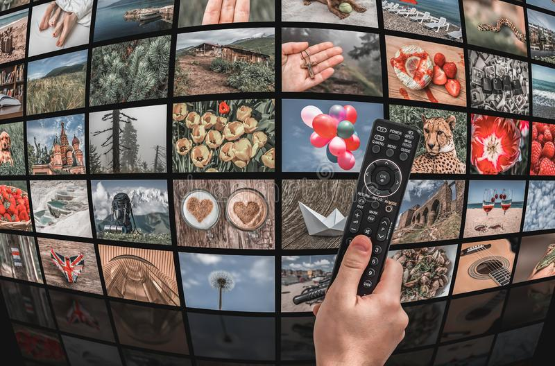 Big multimedia broadcast video wall with remote control stock image