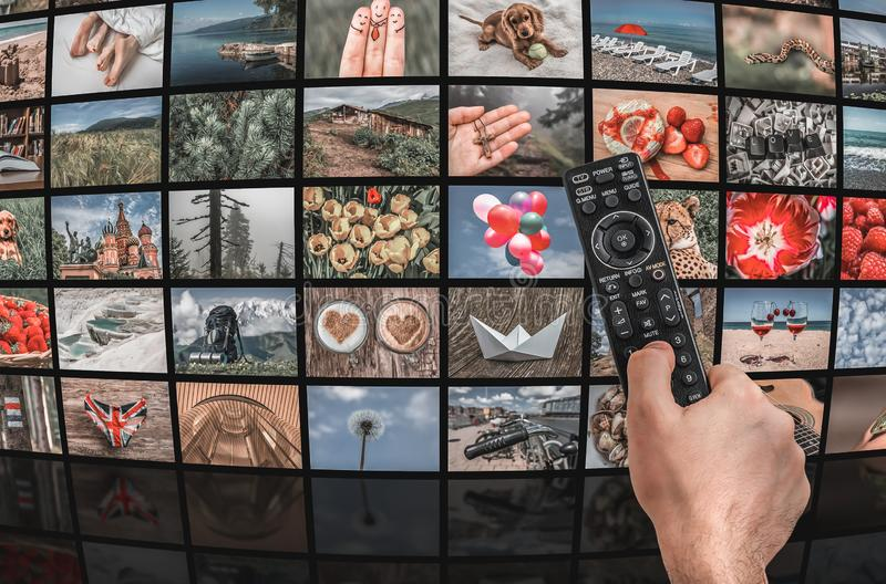 Big multimedia broadcast video wall with remote control stock photo