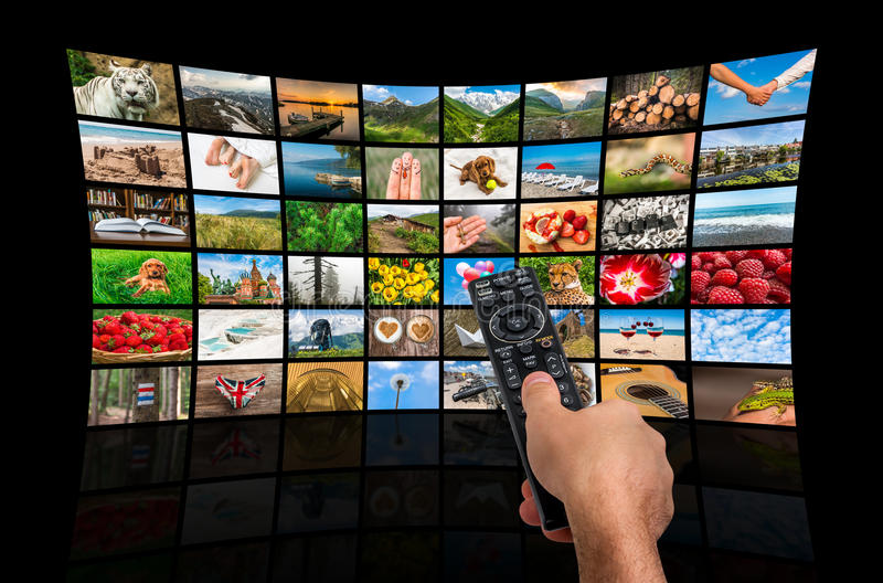 Big multimedia broadcast video wall with remote control royalty free stock images