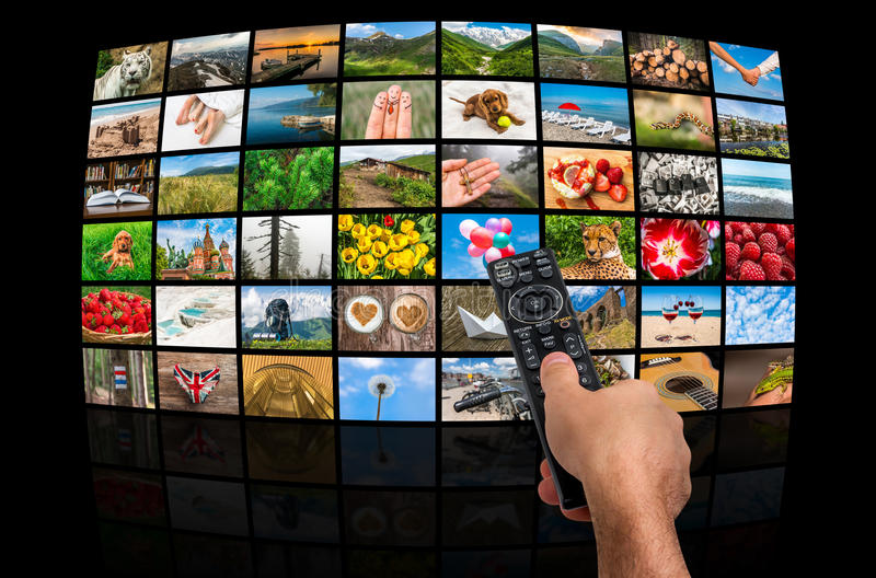 Big multimedia broadcast video wall with remote control royalty free stock image