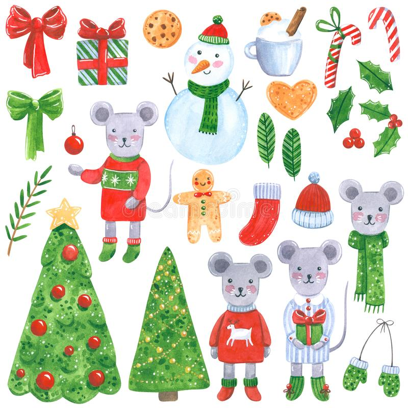 Free Big New Year Clipart Set. Christmas Mouse, Fir Trees, Presents, Leaves, Bows, Snowman, Candies, Cookies. Hand Drawn Watercolor Ill Royalty Free Stock Photos - 164269028