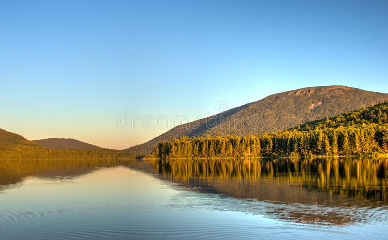 Big Nictau Lake And Mount Sagamook In New Brunswick. Looking across Big Nictau Lake at Mount Sagamook in Mount Carleton Provincial Park. The location is in the stock photography