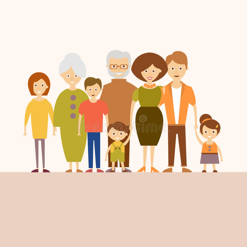 Big Nuclear Family. Vector Illustration in Flat. Vector illustration of a happy big family in a flat style stock illustration
