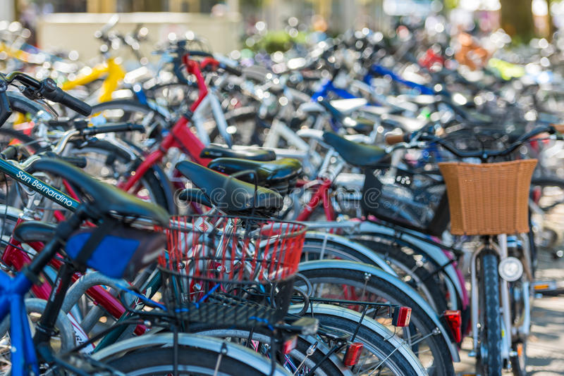 The big number of City Bicycles on a parking. SWITZERLAND, ZURICH - AUGUST 22: The big number of City Bicycles on a parking on August 22, 2015. Small GRIP royalty free stock photos