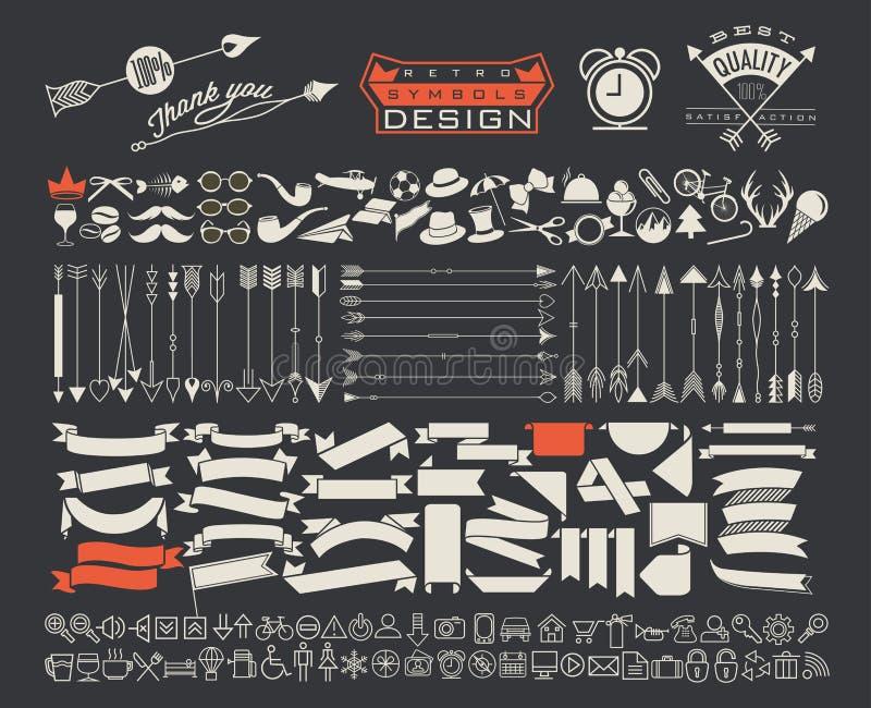 Big object symbols set for all design. vector illustration