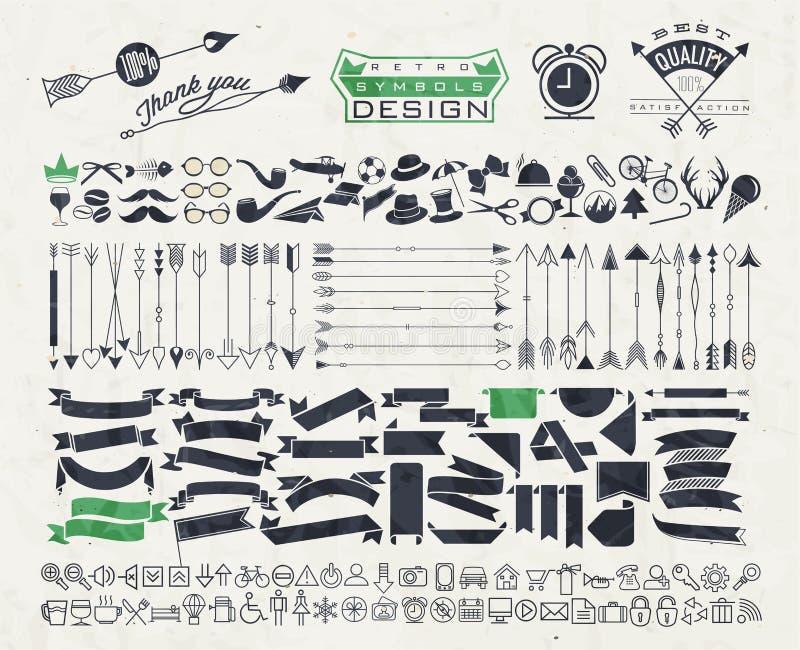Big object symbols set for all design stock illustration