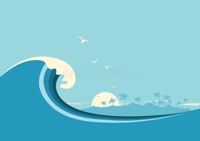 Big ocean wave and tropical island. Vector blue background. Big ocean wave and tropical island. Vector blue poster background royalty free illustration
