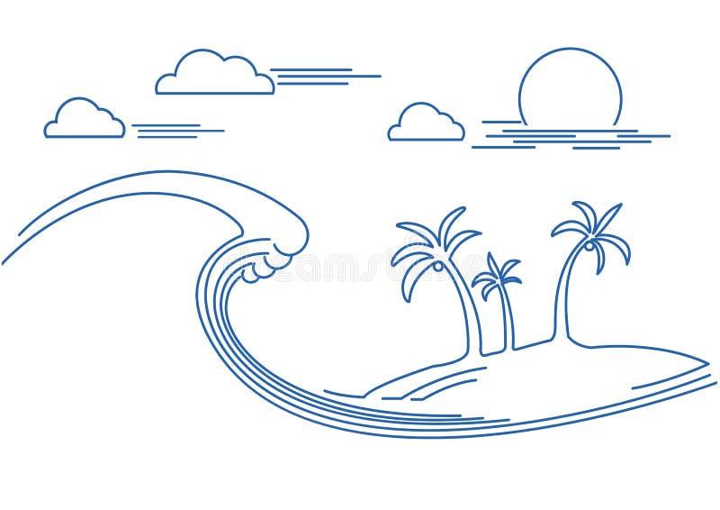 Big ocean wave and tropical island.Vector flat line illustration. Background royalty free illustration