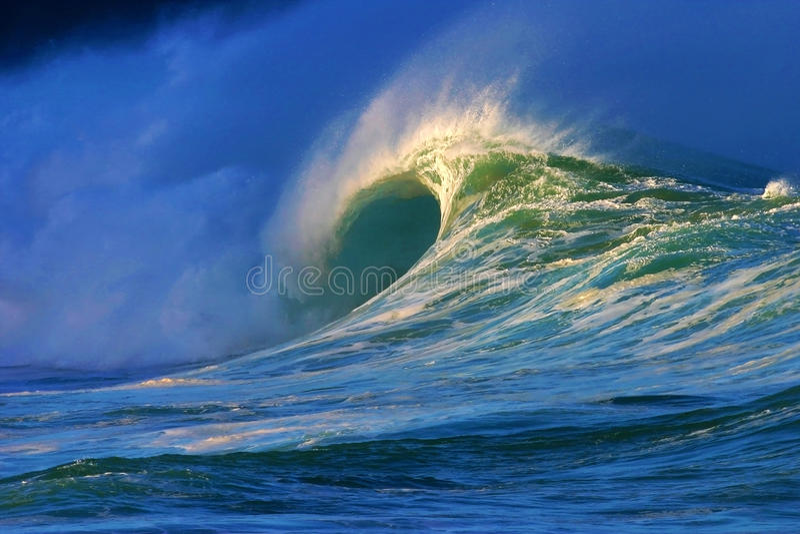 Big Ocean Wave at Waimea Bay Beach stock photography