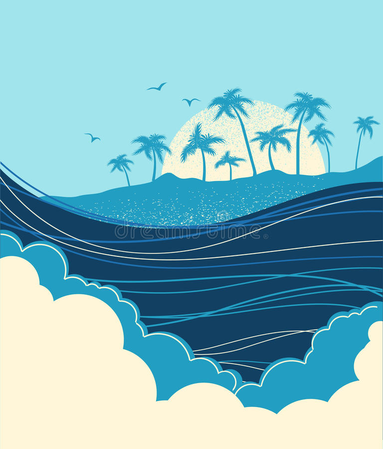 Big ocean waves and tropical island with palms.Vector blue illus. Big ocean waves and tropical island with palms.Vector blue background stock illustration