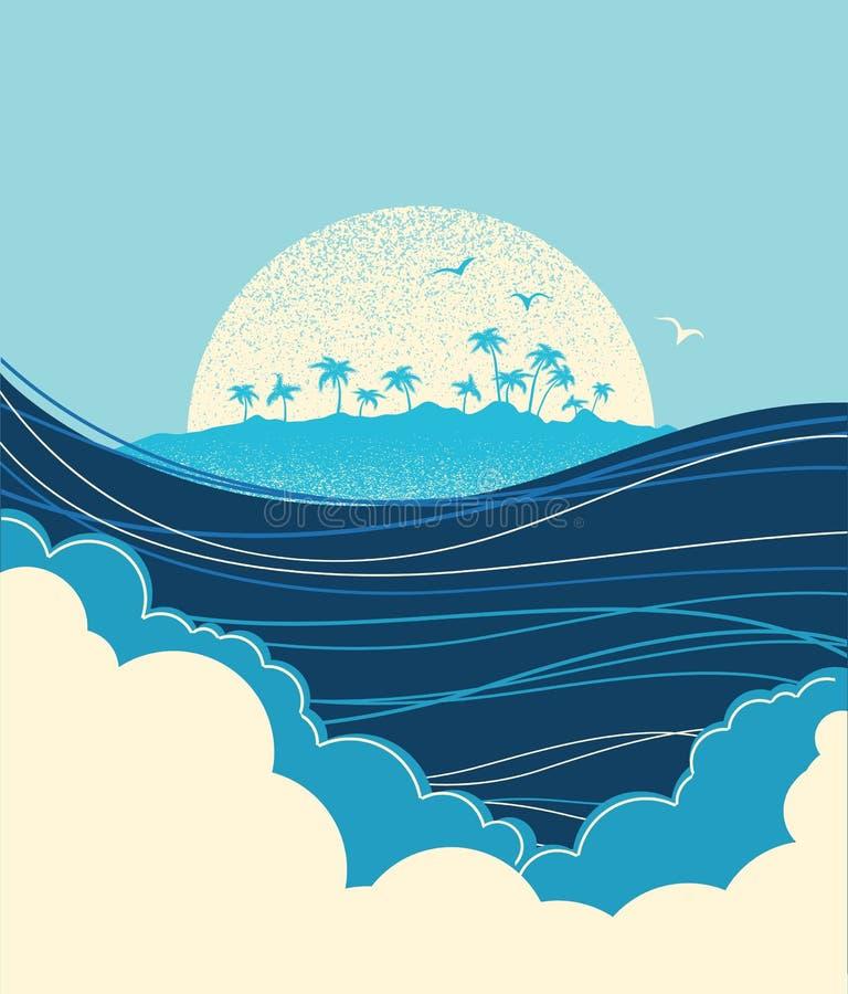 Big ocean waves and tropical island.Vector blue illustration. Big ocean waves and tropical island.Vector blue background stock illustration