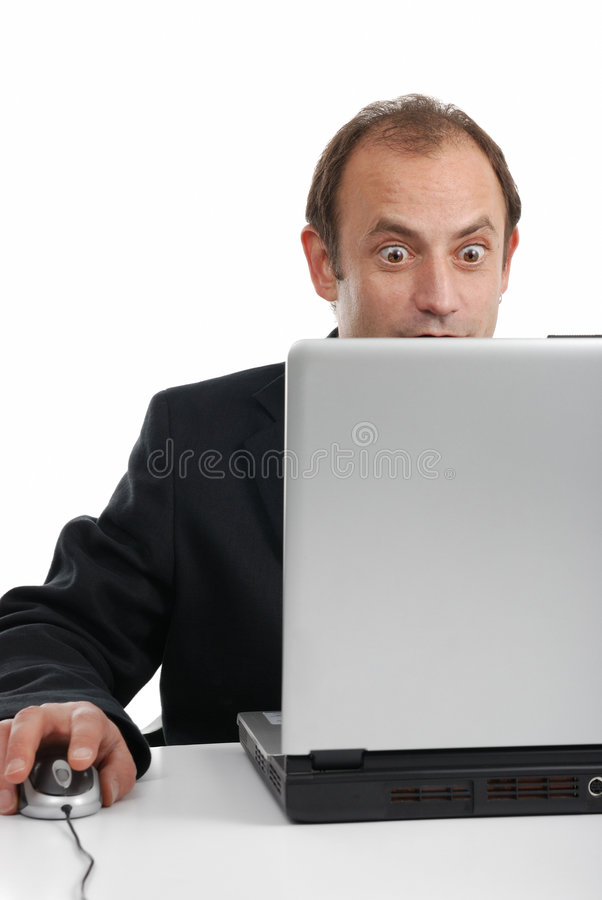 Big offer. Man founds something excellent on laptop royalty free stock photo