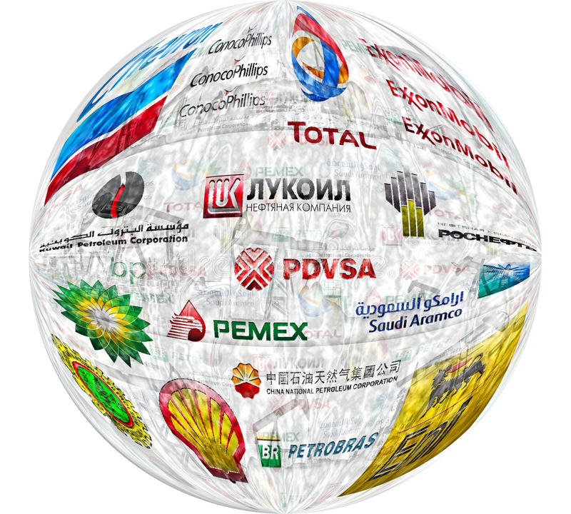 Big Oil Companies. Illustration of the largest private and state-owned oil companies: BP plc, Chevron Corporation, ExxonMobil Corporation, Royal Dutch Shell plc
